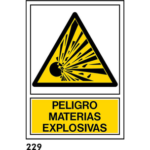 SEÑAL PVC NORM. A4 CAT R-229 - MATERIES EXPLOSIVES