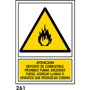SEÑAL PVC NORM. A4 CAT R-261 .INFLAMABLES.