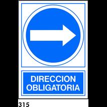 SEÑAL PVC NORM. A4 CAT. R-315 - DIRECCIO OBLIGATOR