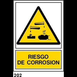 SEÑAL PVC NORM. A4 CAST. R-202 - RIESGO CORROSION