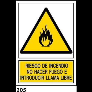 SEÑAL PVC NORM. A4 CAST. R-205 - RIESGO DE INCENDI