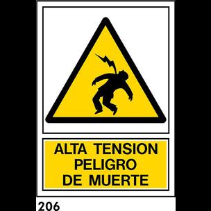 SEÑAL PVC NORM. A4 CAST. R-206 - PELIGRO DE MUERTE