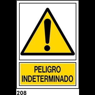 SEÑAL PVC NORM. A4 CAST. R-208 - PELIGRO INDETERMI