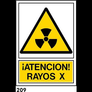 SEÑAL PVC NORM. A4 CAST. R-209 - ATENCION RAYOS X