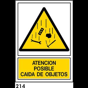 SEÑAL PVC NORM. A4 CAST. R-214 - CAIDA DE OBJETOS