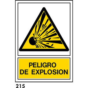SEÑAL PVC NORM. A4 CAST. R-215 - PELIGRO EXPLOSION