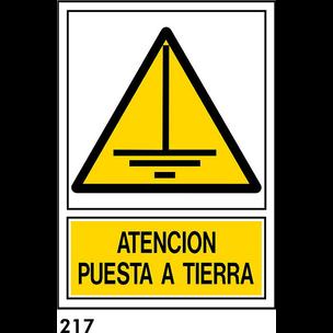 SEÑAL PVC NORM. A4 CAST. R-217 - PUESTA A TIERRA