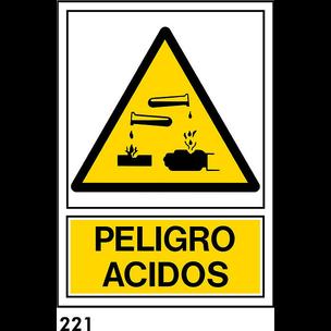 SEÑAL PVC NORM. A4 CAST. R-221 - PELIGRO ACIDOS
