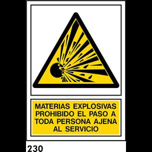 SEÑAL PVC NORM. A4 CAST. R-230 - MATERIAS EXPLOSIV