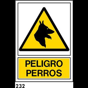 SEÑAL PVC NORM. A4 CAST. R-232 .PELIGRO PERROS.