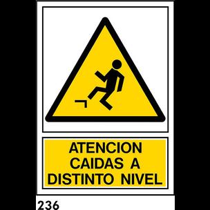 SEÑAL PVC NORM. A4 CAST. R-236 .ATENCION CAIDAS...