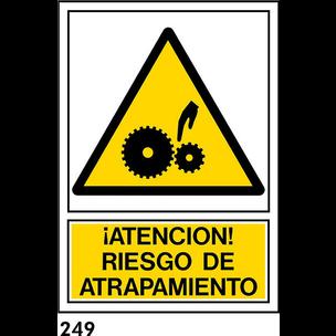 SEÑAL PVC NORM A4 CAST R-249 - ATRAPAMIENTO