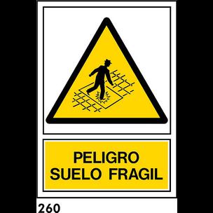 SEÑAL PVC NORM. A4 CAST R-260/J940 .SUELO FRAGIL.