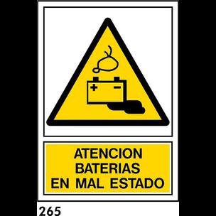 SEÑAL PVC NORM A4 CAST. R-265/J954 .BATERIAS.