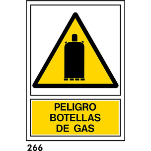 SEÑAL PVC NORM A4 CAST. R-266/J953 .BOTELLAS GAS.