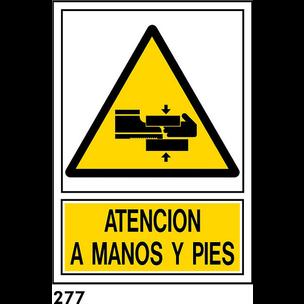 SEÑAL PVC NORM A4 CAST R-277 - ATENCION MANOS A LA