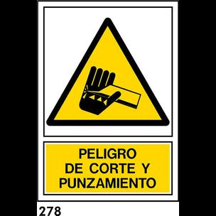SEÑAL PVC NORM A4 CAST R-278 .CORTE Y PUNZAMIENTO.