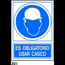 SEÑAL PVC NORM. A4 CAST. R-301 - USAR CASCO