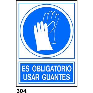 SEÑAL PVC NORM. A4 CAST. R-304 - USAR GUANTES