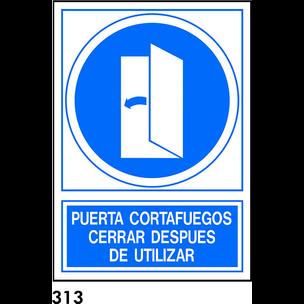 SEÑAL PVC NORM. A4 CAST. R-313 - CERRAR DESPUES DE