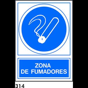 SEÑAL PVC NORM. A4 CAST. R-314 - ZONA DE FUMADORES