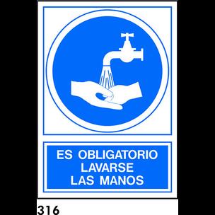SEÑAL PVC NORM. A4 CAST R-316 - LAVARSE LAS MANOS