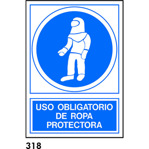 SEÑAL PVC NORM. A4 CAST. R-318 - USAR ROPA PROTECT
