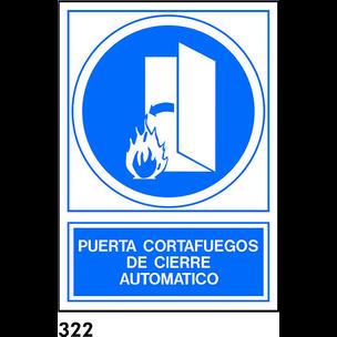 SEÑAL PVC NORM. A4 CAST. R-322 -PUERTA CORTAFUEGOS