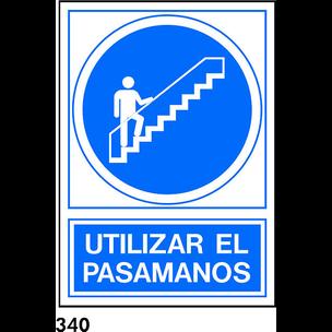 SEÑAL PVC NORM. A4 CAST. R-340 - USAR PASAMANOS