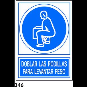 SEÑAL PVC NORM. A4 CAST. R-346 - DOBLAR RODILLAS..