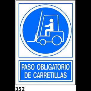 SEÑAL PVC NORM. A4 CAST. R-352 - PASO CARRETILLAS