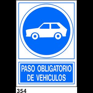SEÑAL PVC NORM. A4 CAST. R-354 - OBLIGATORIO VEHIC