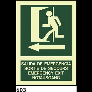SEÑAL PVC FOTO A4 CAT R-603 - SORTIDA D.EMERGENCIA