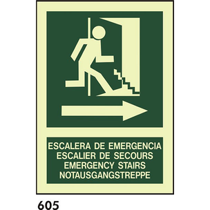 SEÑAL AL. FOTO A3 CAST R-605 - .ESCALERA DE EMERGE