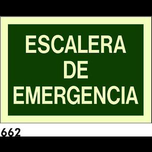 SEÑAL PVC FOTO A4 CAT/CAST R-662 - ESCALERA EMERGE