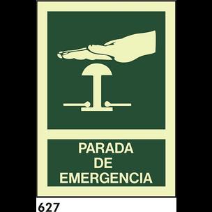 SEÑAL PVC FOTO A4 CAT R-627 - PARADA D.EMERGENCIA