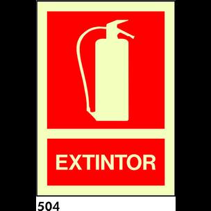 SEÑAL PVC  TRIANGLE 21x21 R-504/C504 .EXTINTOR.