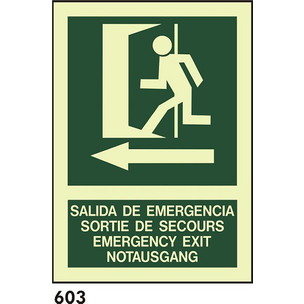 SEÑAL PVC FOTO A4 CAST R-603 - SALIDA DE EMER..