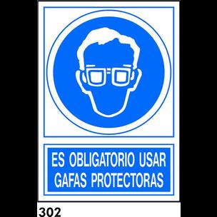SEÑAL PVC NORM. A4 CAST. R-302 - USAR GAFAS