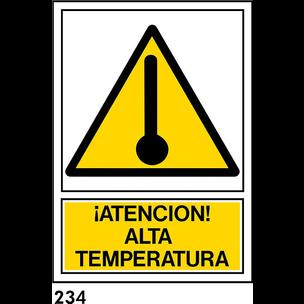 PEGATINA 12X8.5 CAST R-234 - ATENCION ALTA TEMPERA