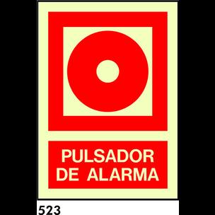 SEÑAL PVC FOTO 10.5X10.5 R-523 - PULSADOR DE ALARM