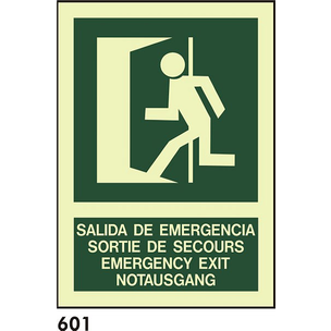 SEÑAL PVC FOTO A4 CAST R-601 - SALIDA EMERGENCIAS