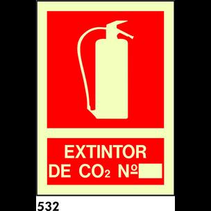 SEÑAL PVC FOTO. BANDEROLA A4 R-532 - EXTINTOR CO2