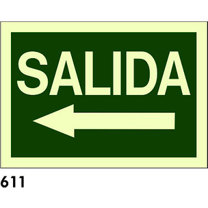 SEÑAL AL. FOTO A4 CAST. R-611 - SALIDA + FLECHA IZ