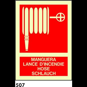 SEÑAL PVC FOTO A3 R-507 - MANGUERA (IDIOMAS)