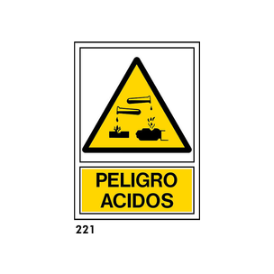 SEÑAL AL. NORM. A3 CAST. R-221 - PELIGRO ACIDOS