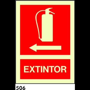 SEÑAL AL. NORM BANDEROLA A3 R-506 - EXTINTOR FL IZ