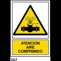 PEGATINA 12X8,5 CAT R-267 - .ATENCIO AIRE COMPRIMI