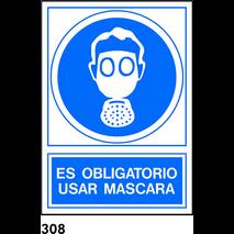 PEGATINA 12X8.5 CAT R-308 - UTILITZAR MASCARA