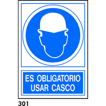 PEGATINA A4 CAST R-301 - .OBLIGATORIO USO CASCO.